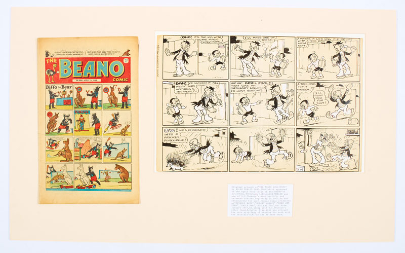 Beano/Magic Lollipops April Fool original artwork (1949) drawn and initialled by Allan Morley for The Beano No 358 April 2nd 1949. Offered with original comic. From the Bob Monkhouse Archive