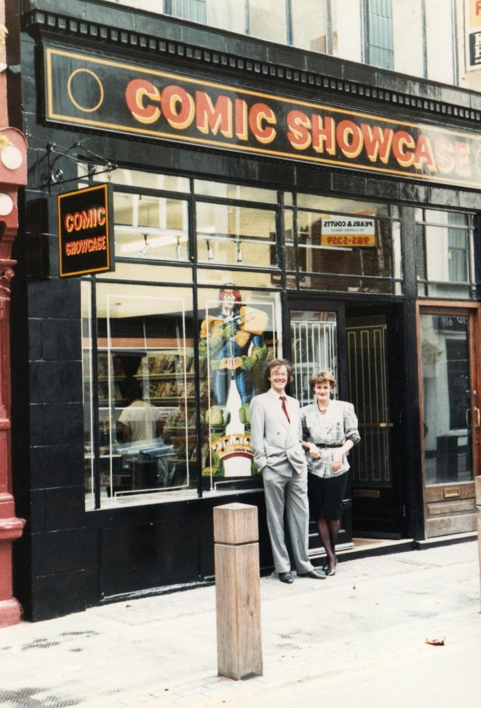 Paul and Sally Hudson at the opening of Comic Showcase London in Neal Street
