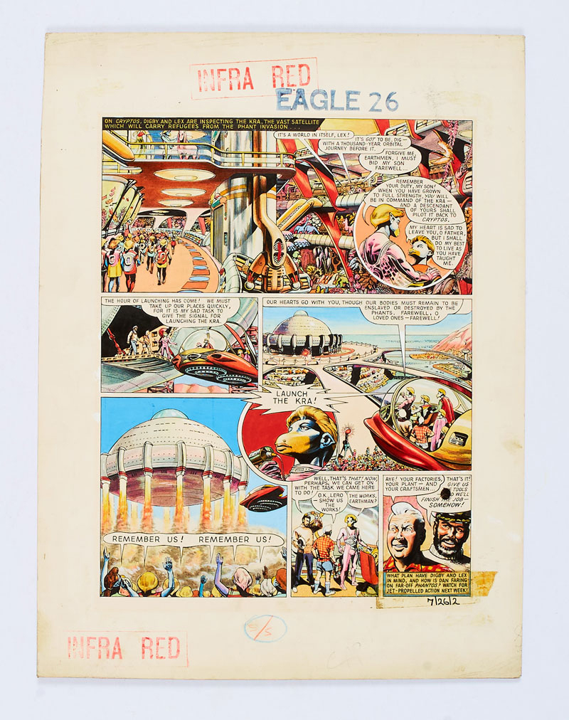 Dan Dare original artwork drawn and painted by Frank Hampson and team for Eagle Volume 7 No 26, published in 1956, from the Bob Monkhouse Archive. On Cryptos, Digby and Lex witness the launch of Kra, the vast satellite liberating refugees from the Phant invasion. Described as a rare example of Hampson's highly detailed and inventive artwork. Gouache on board. 16 x 13 ins