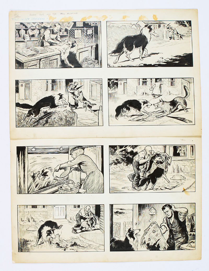 """""""Black Bob and the Mad Alsatian"""" - original eight panel artworks by Jack Prout created in the 1950s for The Dandy/Black Bob books (Indian ink on card. 20 x 16 ins)"""