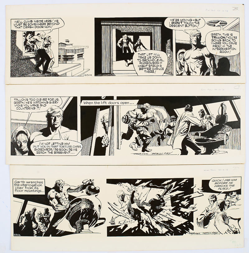 Three original consecutive Garth artworks, drawn and signed by Frank Bellamy from the Daily Mirror 22-27th December 1973. From the Bob Monkhouse Archive. Garth is trapped with Andromeda in Tallion's torture chamber… (Indian ink on board. 20 x 18 ins)