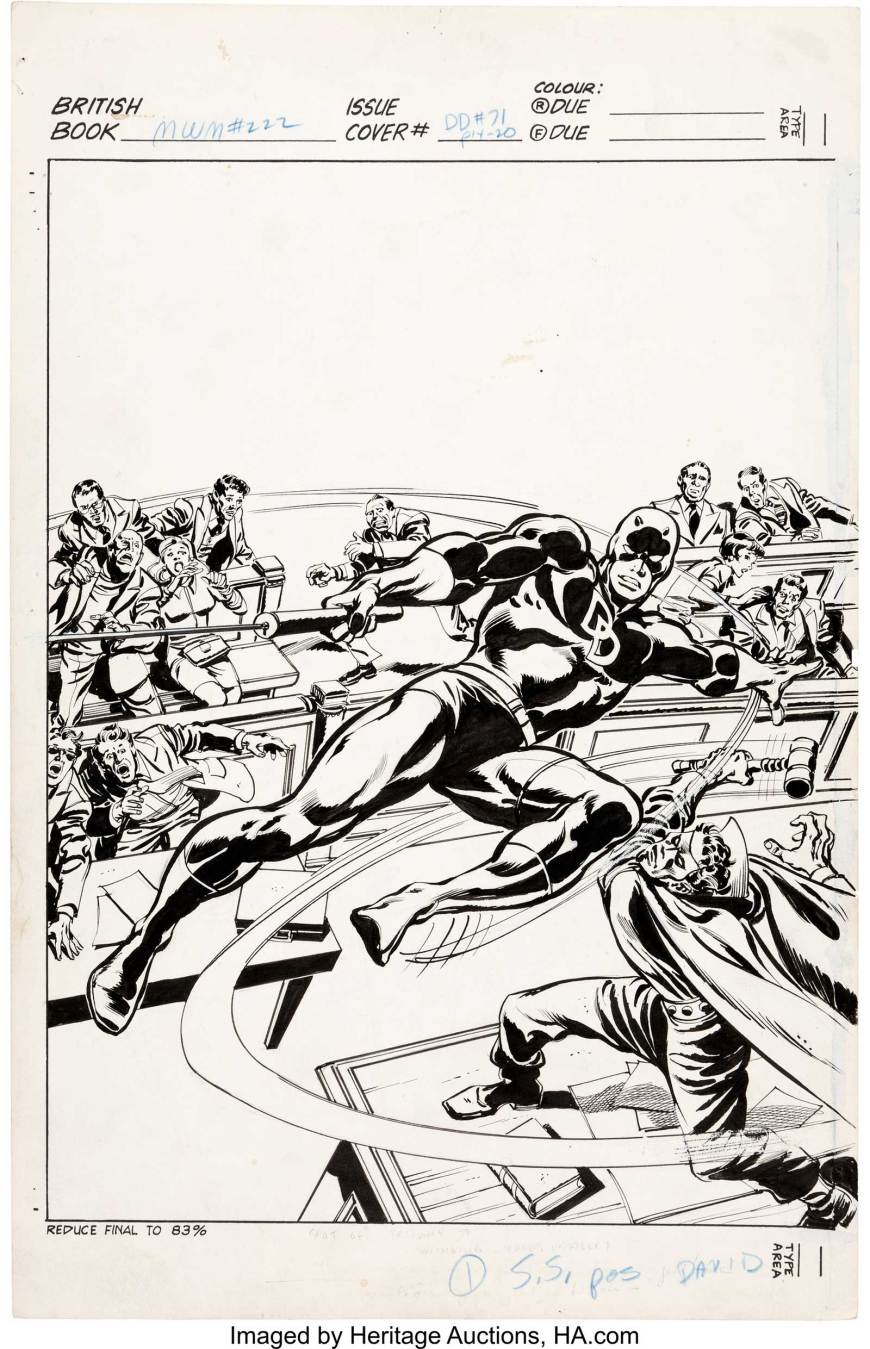 John Buscema and Tom Palmer Mighty World of Marvel #222 Cover Daredevil Original Art