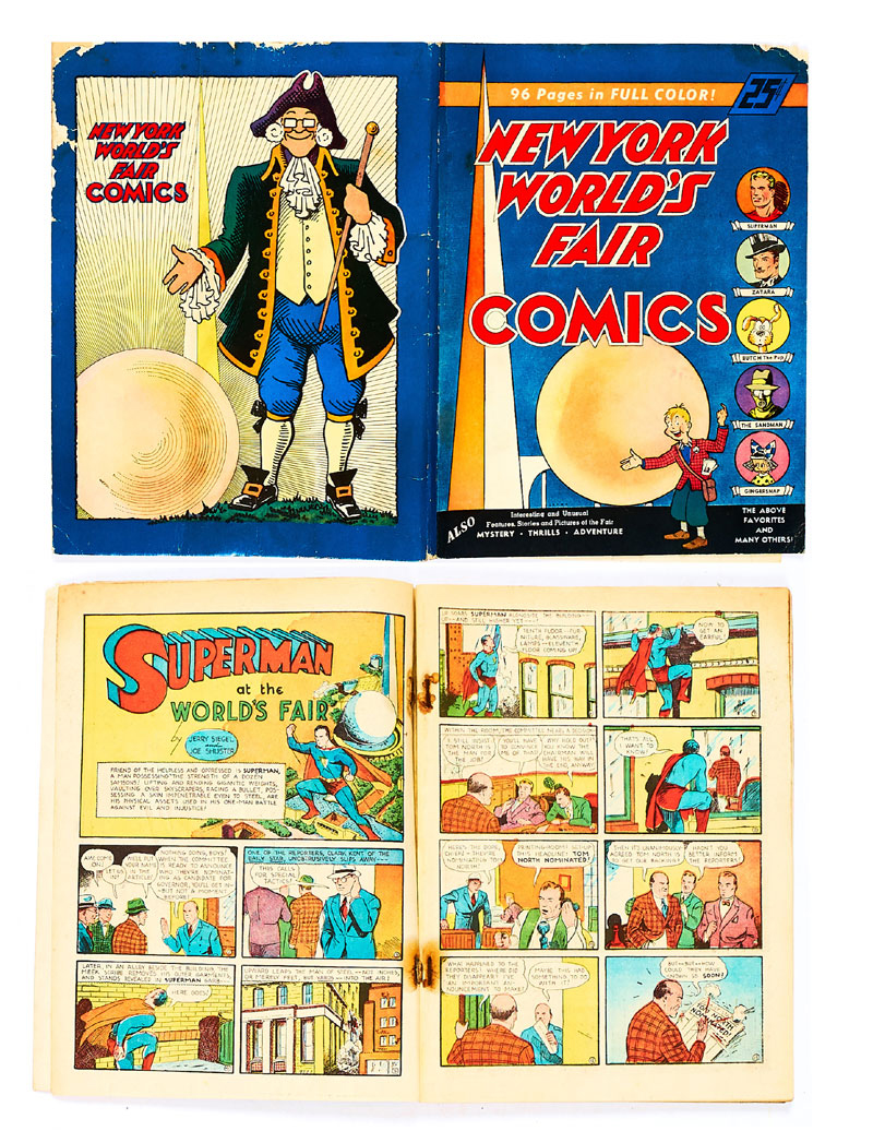 New York World's Fair Comics #1 (1939), starring Superman, Slam Bradley, The Sandman, Zatara and Gingersnap by Bob Kane. Showing a blonde Superman on the cover, this first edition was offered for sale at the 1939 New York World's Fair. It did not sell very well as its cover price of 25c was more than double the normal 10c comic book price of the time.
