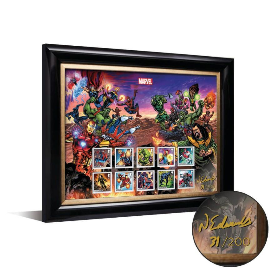Royal Mail 2019 - Marvel Special Issue Stamps - Framed Set signed by Neil Edwards
