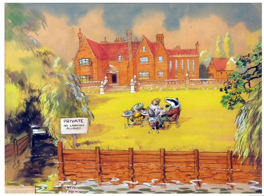 A Wind in the Willows illustration by John Worsley, used to illustrated Anglia's first children's serial but also in an illustrated book of Kenneth Grahame's story