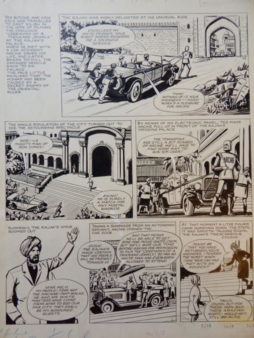 "A page from a 1958 ""Robot Archie"" story, art by by Ted Kearon - titled ""Archie, de man van Staal - Bodyguard to the menaced Rajan"""