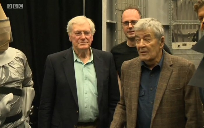 """Peter Purves, Dr Andrew Ireland and Edward de Souza on the set of the recreated """"Mission to the Unknown"""""""