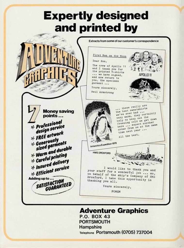 The artworks on this page of an Adventure Graphics leaflet were provided by David Slinn