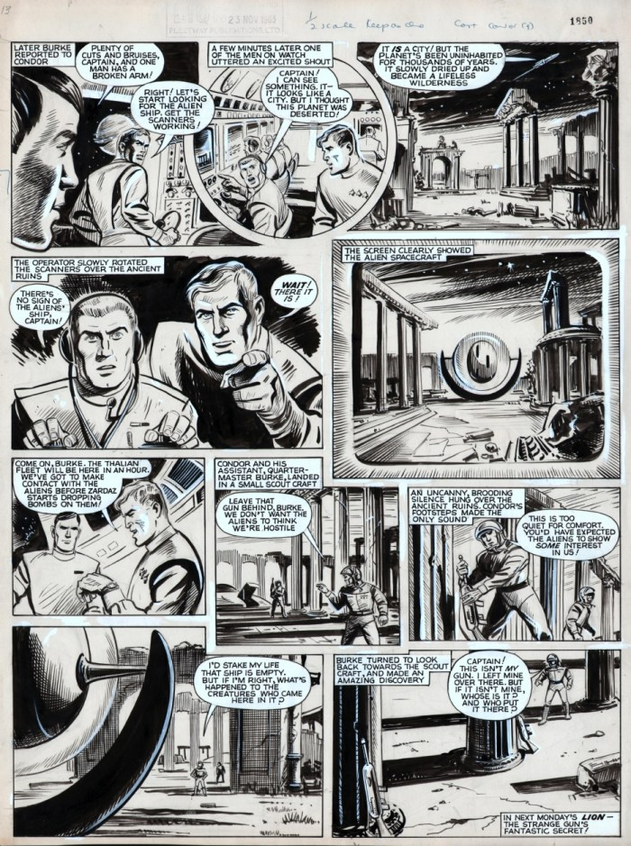 """A page from """"Captain Condor - The Day the Sun Went Out """" from Lion cover dated 23rd November 1963. Via ComicArtFans"""