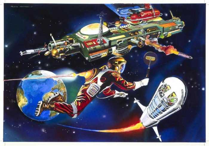 """Satellite Control"" - cover art by Frank Hampson for Grande <a href=""https://www.fantascienza.com/catalogo/volumi/NILF103154/fantascienza-e-fumetti-americani/"" target=""_blank"" rel="