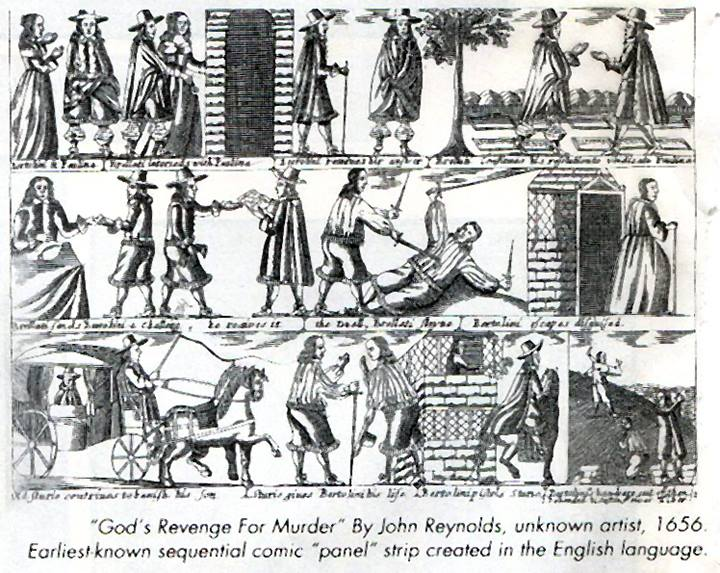 God's Revenge For Murder - a comic strip by John Reynolds, artist unknown, published in 1656