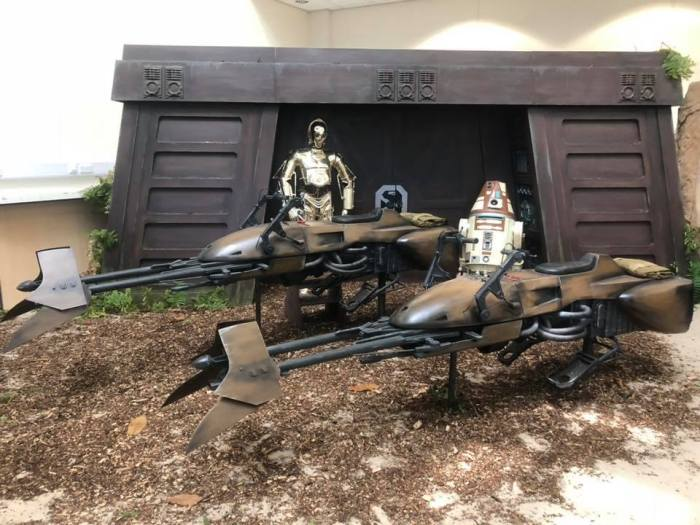 The Isle of Wight Prop Crew's magnificent model of two Star Wars speeder bikes, complete with Endor bunker back drop. Photo: Isle of Wight Prop Crew