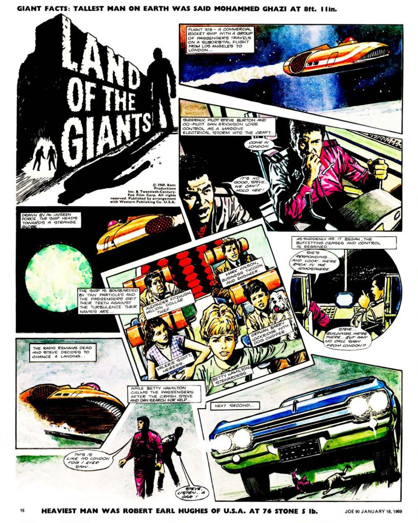 "The opening page of ""Land of the Giants"" from Joe 90 Issue One"