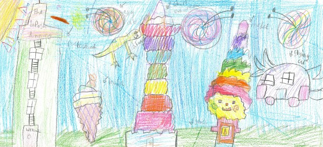 """Saira Ali, aged 7, said of her """"Cities of the Future"""" prediction: """"The world right now isn't very colourful, so in the future I want everything to be more colourful and eye catching - that's why I put lots of rainbow colours in there. The flying cars just came off the top of my head, because it would be cool if you looked outside and all the cars were floating in the air with wings on them."""""""