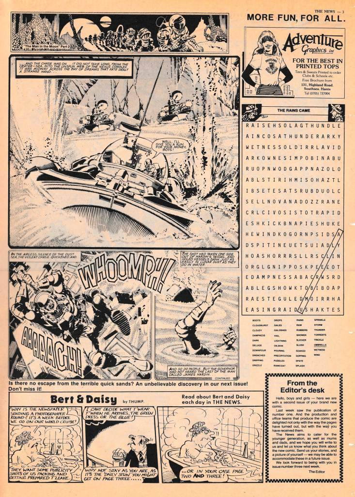 """Art on this page of SCOOPS Issue 2 (21st September 1982) by Ron Smith; """"Bert and Daisy"""" was the work of """"The News"""" regular cartoonist Dave Follows"""
