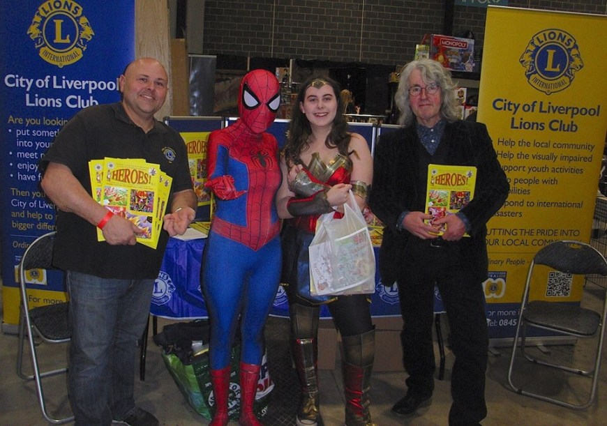 The iHeroes! Launch at Liverpool Comic Con 2019. Efitor Tim Quinn (right) with attending superheroes!