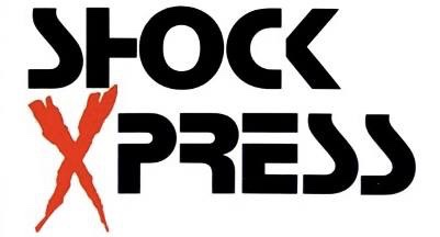 "Dave Reeder's first designed masthead, for Shock Xpress - trimmed Letraset and - the 'X' from the poster of ""X The Unknown""!"