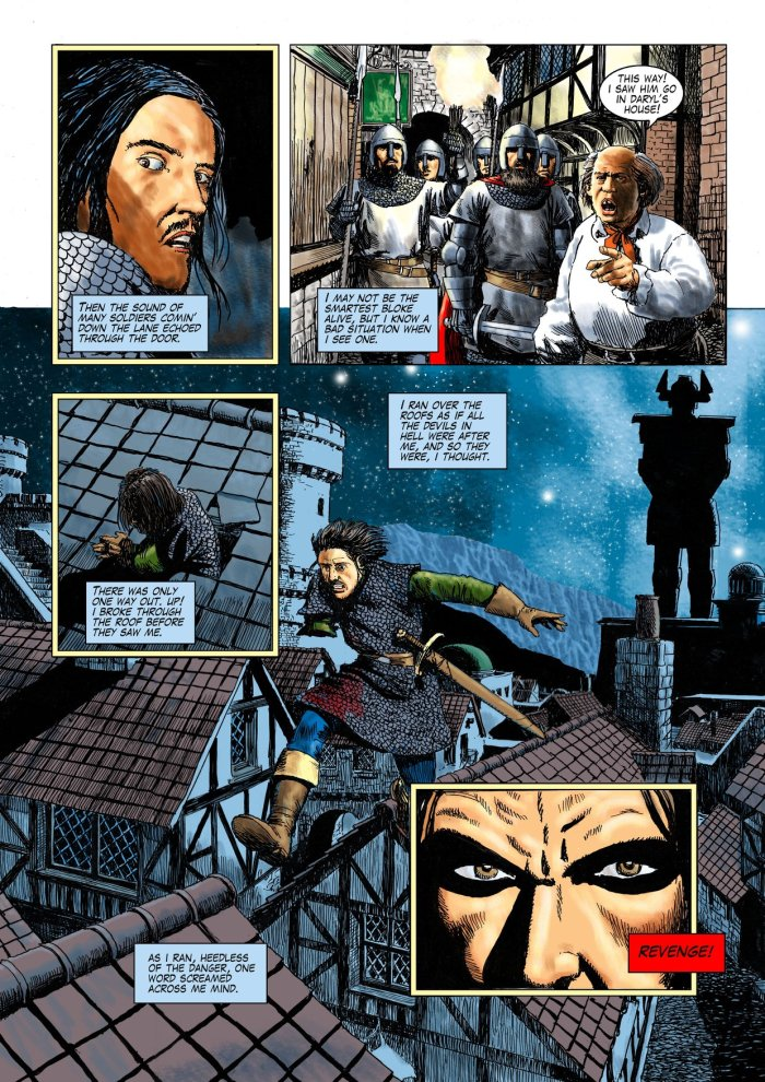 "A page from the colour edition of Age of Heroes #5. ""The pages of Age of Heroes were produced in pen and ink for comics published around 1995,"" says John. ""I began to colour the pages by scanning the artwork and colouring using Photoshop and Krita so that they may be published in colour. The colouring process calls for some blacks to be removed and replaced with colour. It may be fun to play spot-the-difference. I have replaced all the original lettering."""