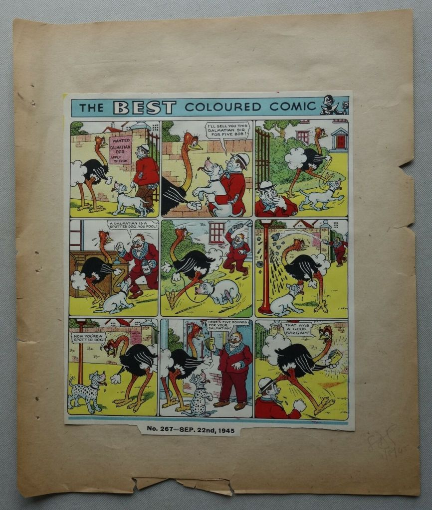 Beano Issue 267 - Printer's Proof Issue Cover dated 22nd September 1945