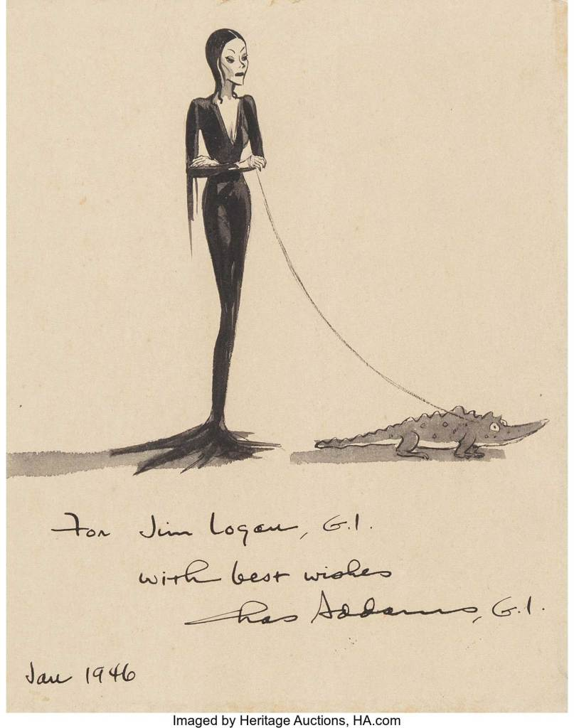 Morticia Addams, original cartoon illustration by Charles Addams, January 1946