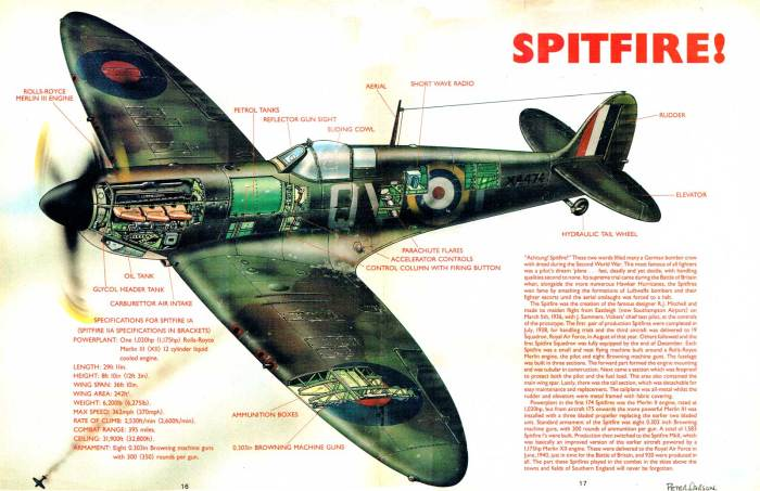 Spitfire cutaway for New Eagle cover dated 1st September 1990 by Peter Sarson