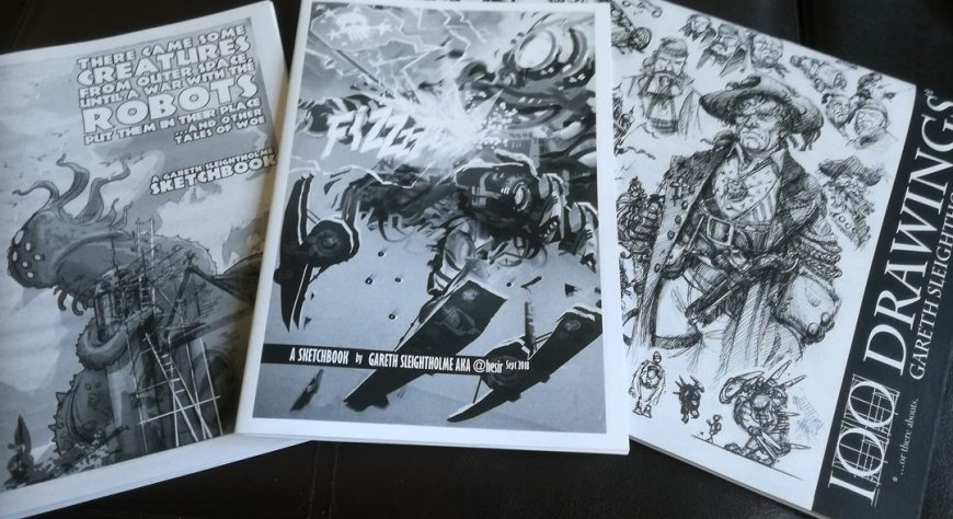 Sketch Books donated by Gareth Sleightholme for the Awesome Comics Podcast charity project organised by Richard Sheaf for Free Comic Book Day 2019