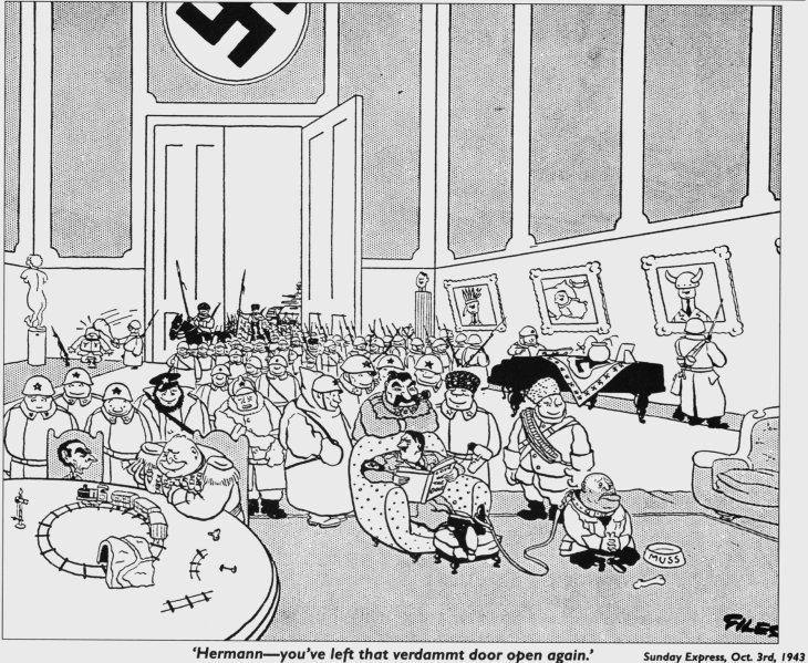 Giles first cartoon for the Daily Express, published 3rd October 1943