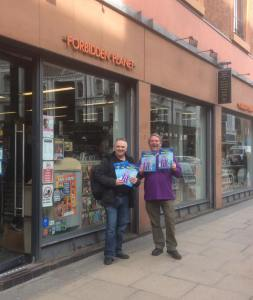 John JJ Jackson and Brian M. Clarke with Mancunian #1 outside Forbidden Planet Manchester