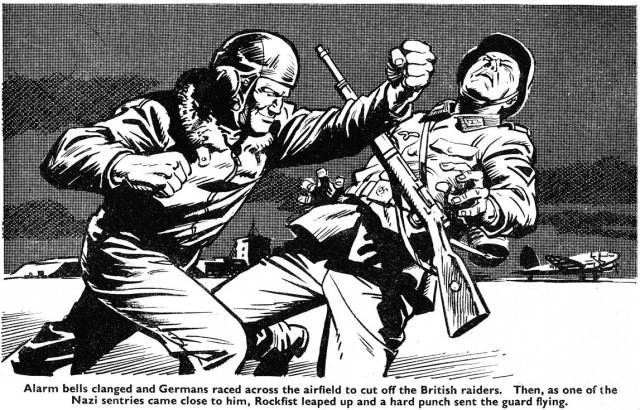 """An illustration by Geoff Campion for a """"Rockfist Rogan"""" text story for Lion, cover dated 28th May 1966. Image via the British Comic Art blog"""