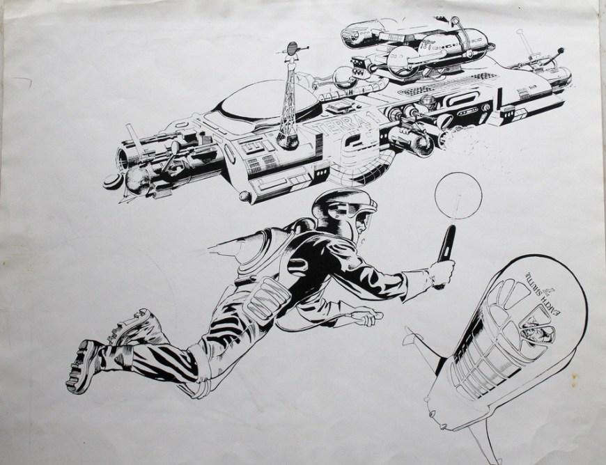 """Satellite Control"" - line art by Frank Hampson for Grande Enciclopedia della Fantascienza N.54, published by Editoriale Del Drago in 1981"