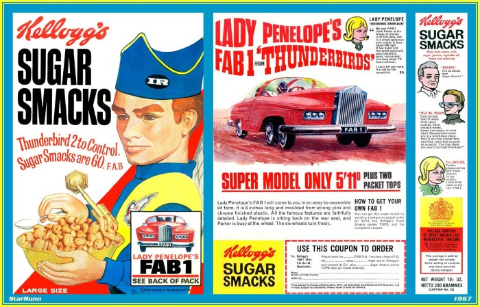 1967 Sugar Smacks - Thunderbirds packet via Andrew P. Yanchus. Other variations were offered, starting in 1966