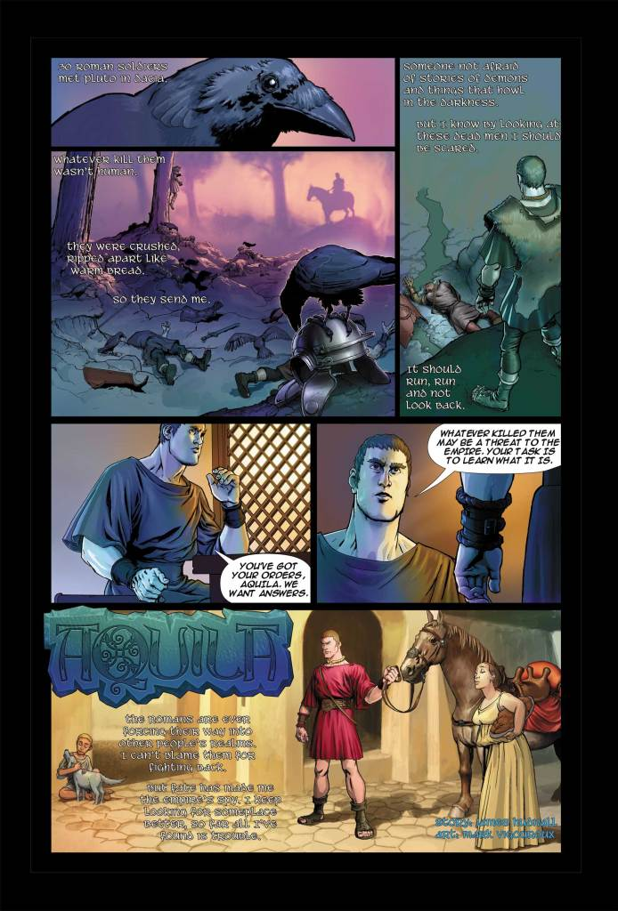 """The first page of the unpublished adventure """"Thracius"""" by Jame Hudnall, with art by Mark Vigoroux."""