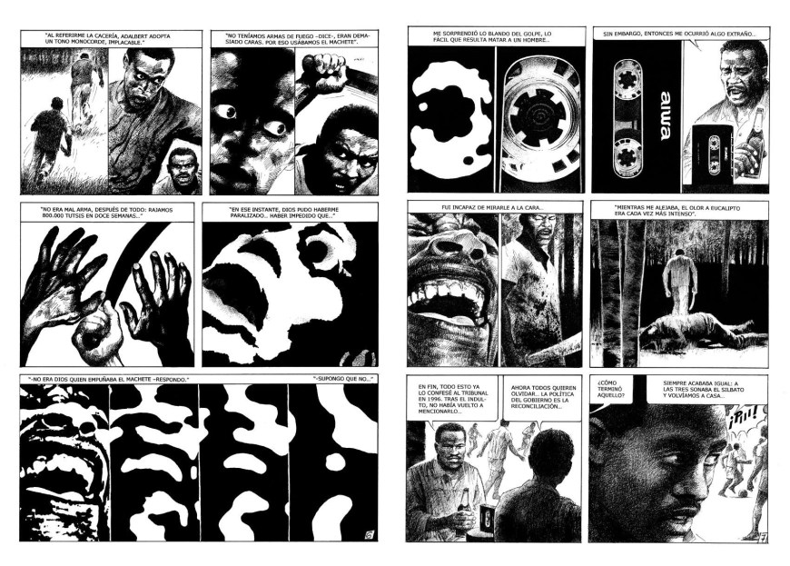 A double page spread for a story telling the terrible events of the Rwanda's genocide, written by Jorge García. Art by Luis Garcia Mozos
