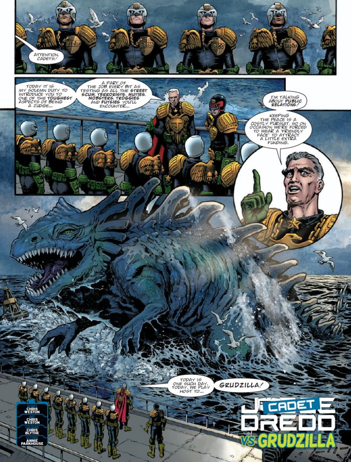 2000 AD Prog 2130: Cadet Dredd vs Grudzilla
