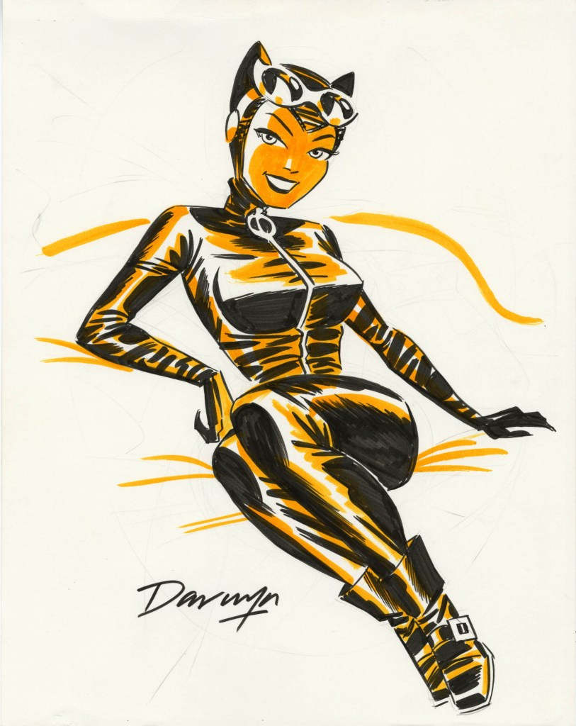The beloved Darwyn Cooke, who redesigned Catwoman for the 21st century, created this illustration of his popular subject in ink and tonal marker on board. It really captures the joy that Cooke was able to build into his work on Batman's greatest femme fatale.