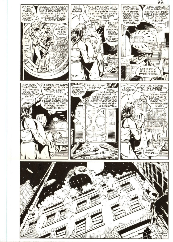 "Watchmen by writer Alan Moore and Dave Gibbons is widely considered to be the best superhero comic book series ever created and originals from the series are among the most desirable artwork of the era. Offered here is a memorable scene from #7 of the 12-part 1986 series. We see Nite Owl and Silk Spectre taking Nite Owl's Owlship, which he calls ""Archie"" (short for Archimedes), out for its first ride in almost a decade since the Keene Act had outlawed superhero activity. It is a significant moment in the series and a memorable scene."