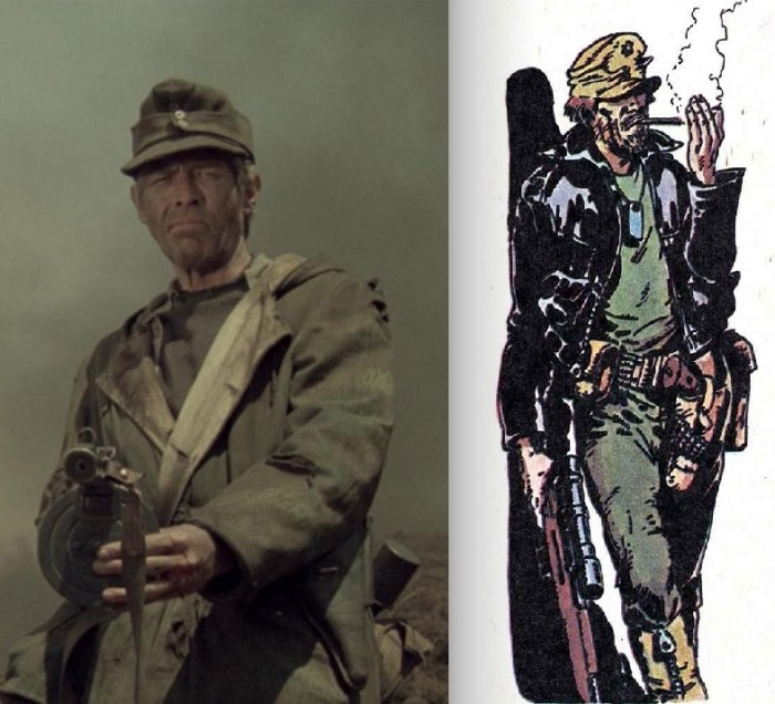 """James Coburn in """"Cross of Iron"""" and Major Eazy by Carlos Ezquerra, from Battle"""