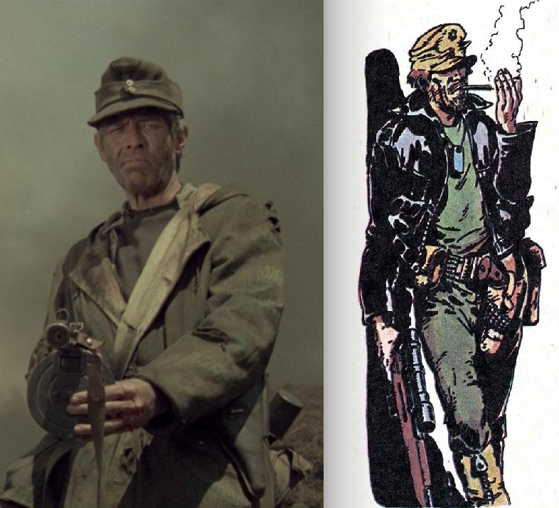 "James Coburn in ""Cross of Iron"" and Major Eazy by Carlos Ezquerra, from Battle"