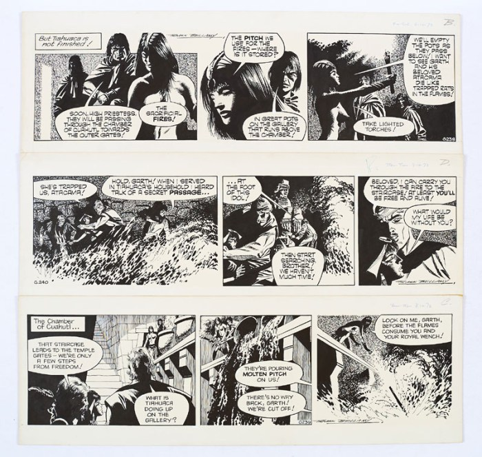 """Three original consecutive """"Garth"""" artworks (1973) drawn and signed by Frank Bellamy from the Daily Mirror 6-9th October 1973. From the Bob Monkhouse archive.  High priestess, Tiahuaca, sets a fiery trap for Garth and Atacama …"""