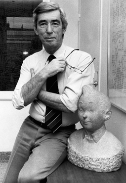 Photograph of Hergé (Georges Prosper Remi, 22 May 1907 – 3 March 1983), depicting him alongside a bust of Tintin, his most famous creation