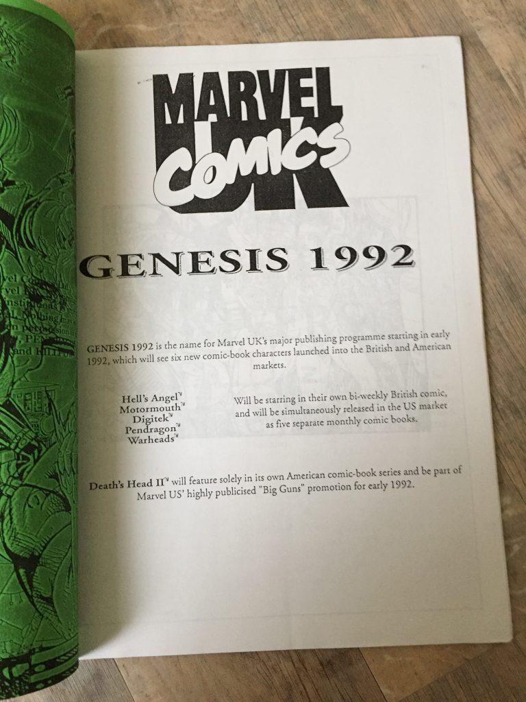 Marvel UK Genesis 1992 Booklet