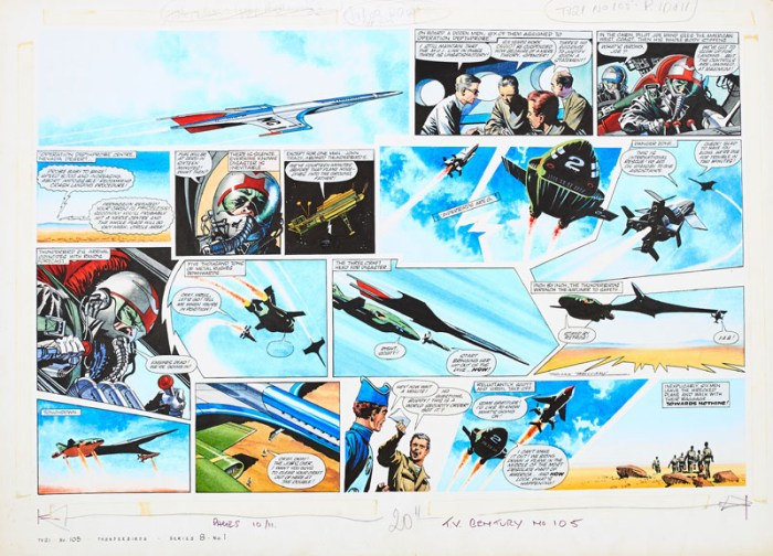 Thunderbirds original double page artwork (1967) drawn, painted and signed by Frank Bellamy for TV Century 21 No 105, 1967.  From the Bob Monkhouse archive.  Carrying a priceless shipment, Deathprobe 1's controls are jammed and the pilot is refused permission to abort ... Thunderbirds 2 and 3 are go ...