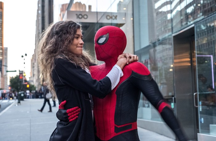 Michelle (Zendaya) catches a ride from Spider-Man in Columbia Pictures' Spider-Man: Far From Home