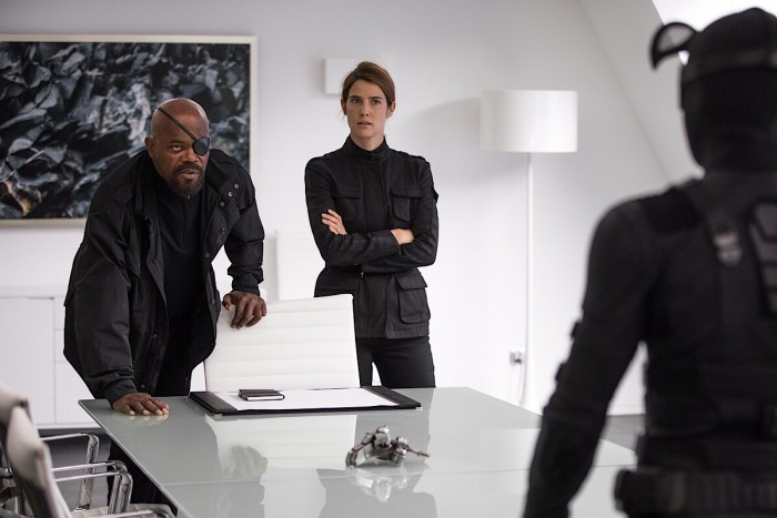 Samuel L. Jackson and Cobie Smulders in Columbia Pictures' Spider-Man: Far From Home