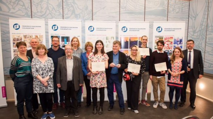 "Finalists and judges at the award ceremony for ""Europe+"" last month. Photo: Felix Kindermann"
