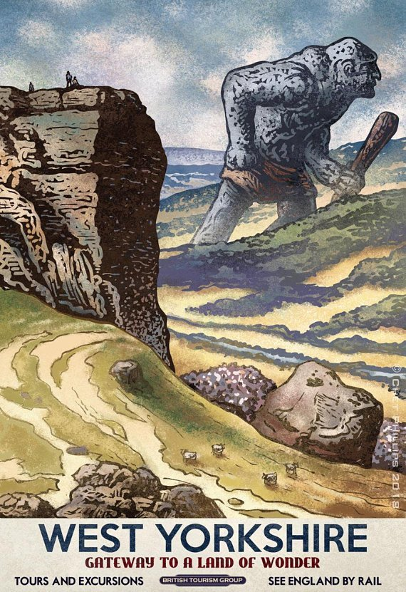 Fantasy Travel Postcard Set by Chet Phillips - West Yorkshire
