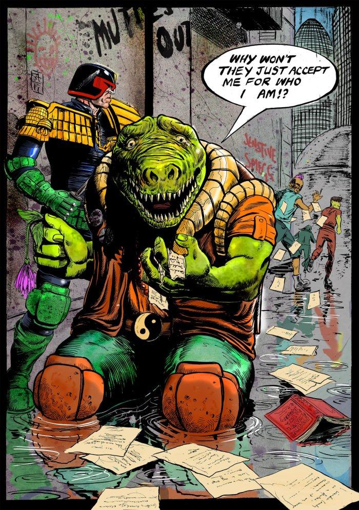 Judge Dredd and Klegg by Steven Austin