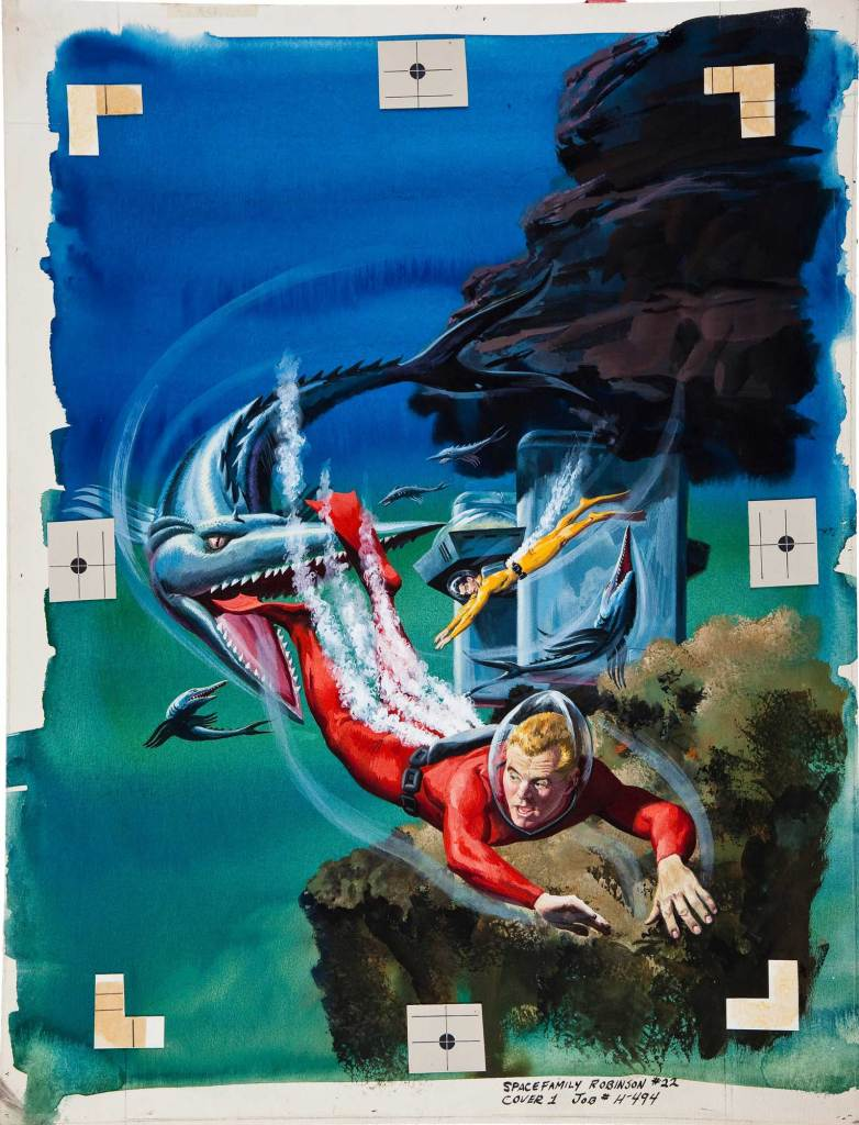 Art by George Wilson for the cover of Space Family Robinson Lost in Space #22 (Gold Key, 1967)