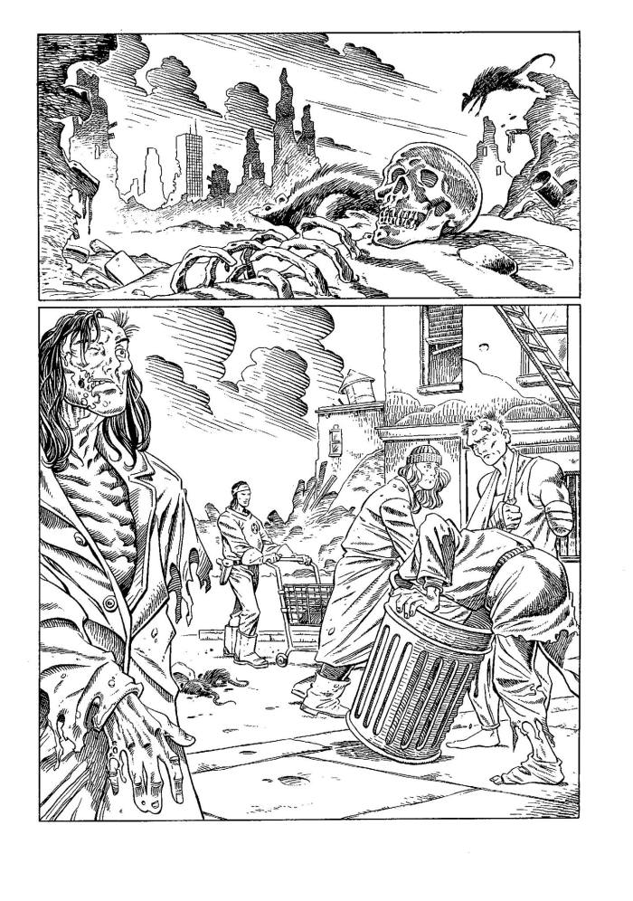 "A page of Art Wetherell's work for Negative Burn, published by Caliber, inked by Bambos Georgiou. ""I used the opportunity to try 'embellishing' and went with a more European approach,"" said Bambos of his inks in 2017, ""a bit Moebius-ish, but in some places it just comes across a bit Basil Wolverton (as usual). I always loved working on Art's pencils and tried to promote him at Marvel UK but really didn't get anywhere."""
