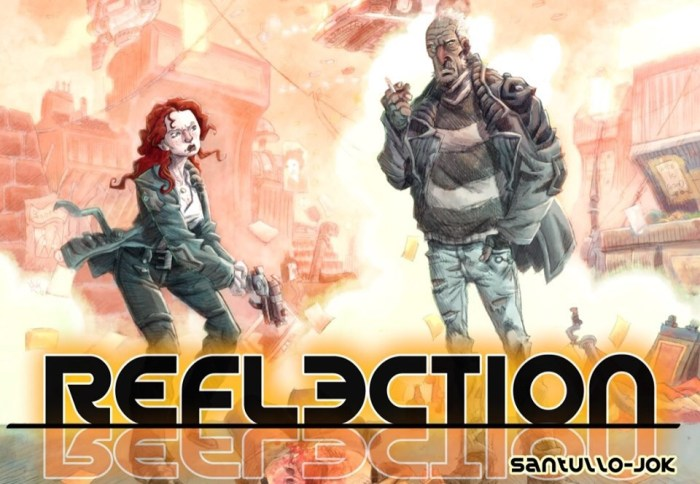 """""""Reflection"""" began in Aces Weekly Volume 39. A cop at the top of his game is mysteriously murdered. As the police team investigate, his tough ex-partner, Walsh, seeks the killer in his own uncompromising manner... Now, in the force's Forensics building... © 2019 Jok and Santullo"""
